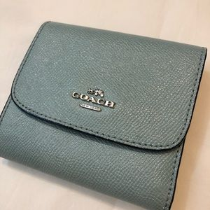 Coach Bags - Coach Small Wallet Glitter Leather Aqua Trifold